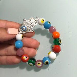 Jewelry - Silver hamsa hand rainbow evil eye bead bracelet